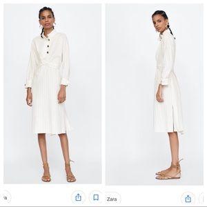 NWT. Zara ivory midi dress with belt. Size XL.